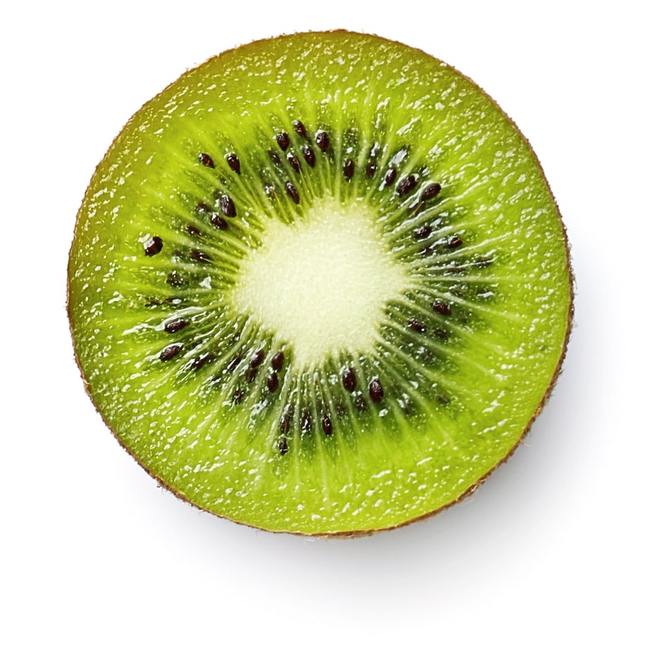A picture of a cut kiwifruit.